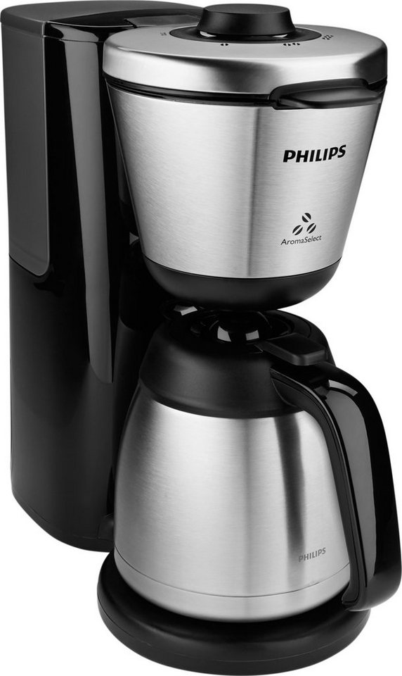 Philips Kaffeemaschine HD7697/90, Intense AromaSelect mit Thermokanne, schwarz in schwarz