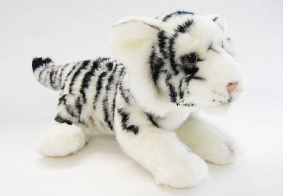 Plüschtier, »Sibirischer Tiger liegend, 23 cm, aus der Serie Blickfänger«, Heinrich Bauer in weiß