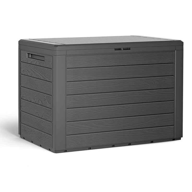 Deuba Auflagenbox »Lille«, Balkonbox Holzoptik Stecksystem Griffmulden Abschließvorrichtung Balkon Garten Terrasse Gartenbox Kissenbox Gartentruhe Anthrazit