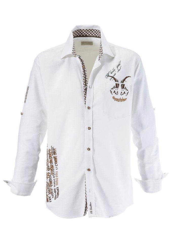 Trachtenhemd, mit Stickerei und Aufdruck, OS-Trachten in weiß/braun