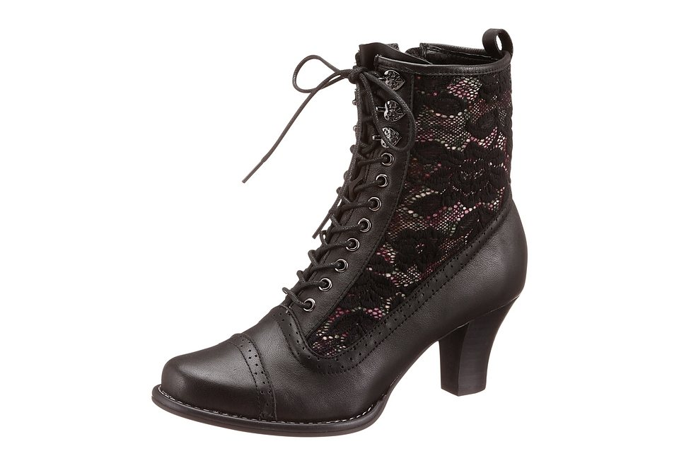 Stiefelette, Leder-Textil Kombination, Andrea Conti in schwarz
