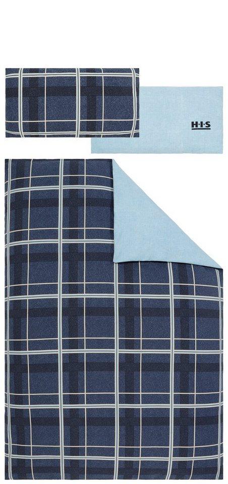Wendebettwäsche, H.I.S, »Manchester«, mit Karo-Muster in blau