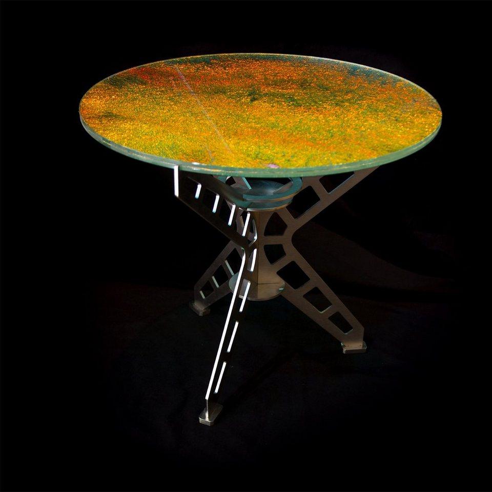 Stahlglanz Stahlglanz Tisch PICASSO mit Effekt-Glas in silber, mehrfarbig