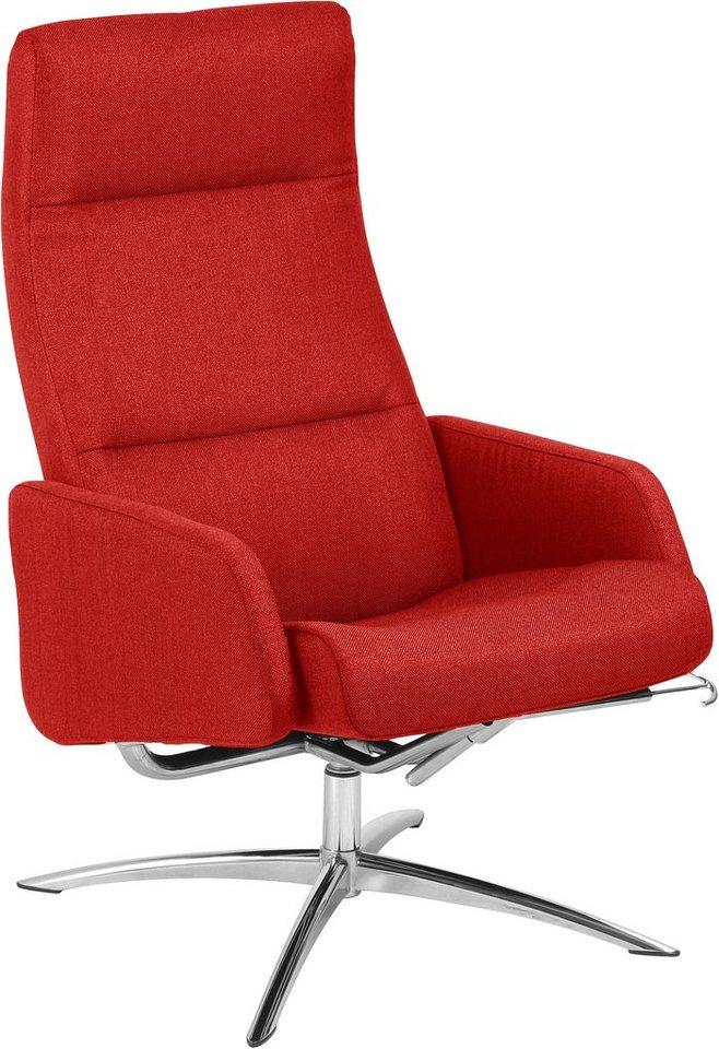 andas Relaxsessel »Mody Classic«, mit verchromtem Drehfuß in rot