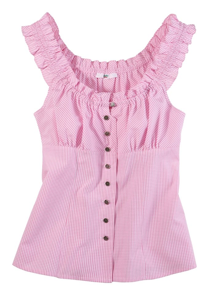 Trachtenbluse, in Carmen Stil, Country Line in rosa/weiß