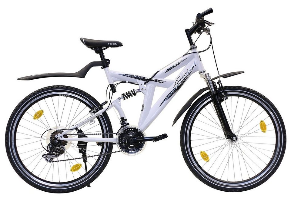Fully Mountainbike, 26 Zoll, 21 Gang Shimano TX 35, V-Brakes, ohne Beleuchtung, Firebird in weiß