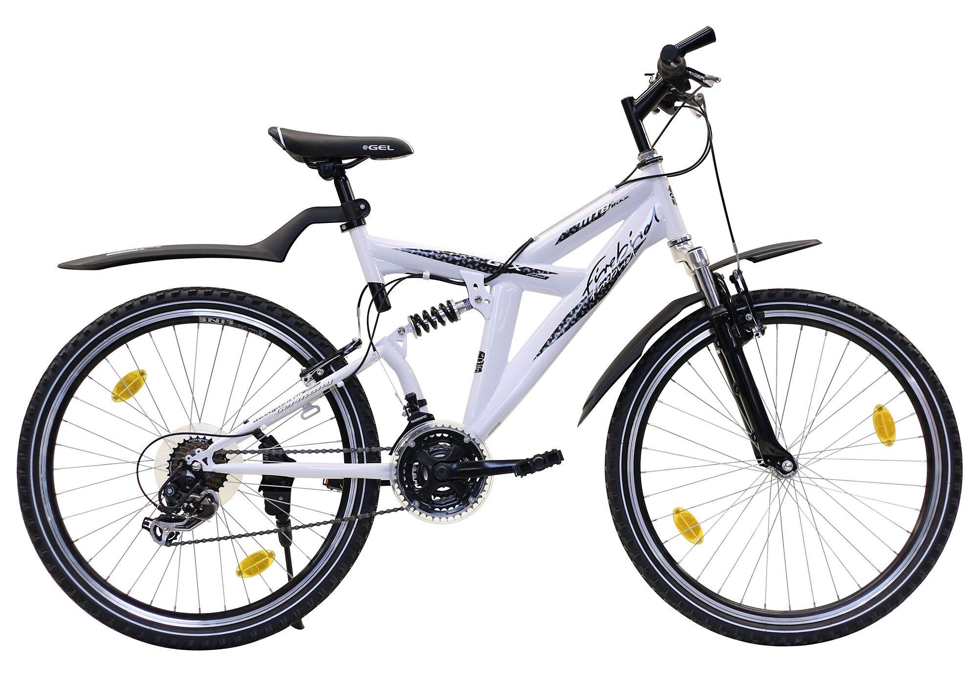 Fully Mountainbike, 26 Zoll, 21 Gang Shimano TX 35, V-Brakes, ohne Beleuchtung, Firebird