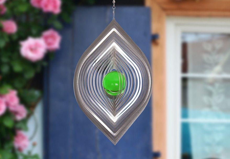 Windspiel, »Blatt«, ILLUMINO in grün