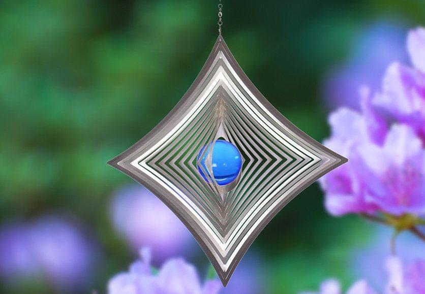 Windspiel, »Quadrat hochkant konkav«, ILLUMINO in blau