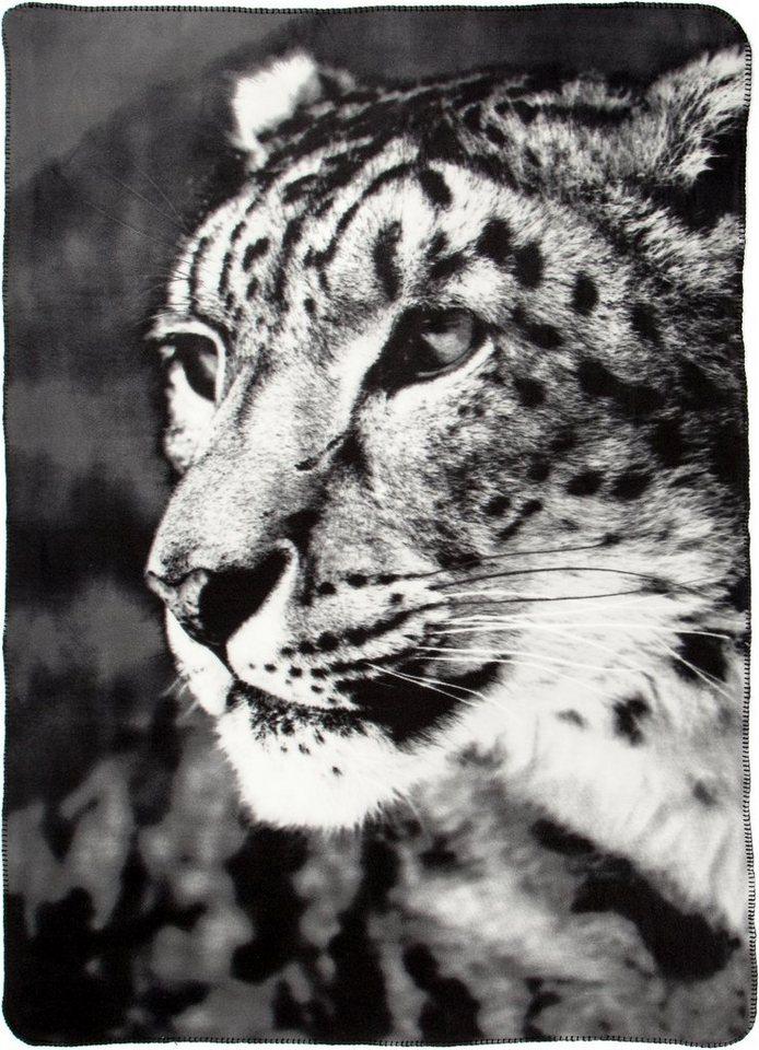 Wohndecke, Biederlack, »Leopard«, mit Leopardenmotiv in grau