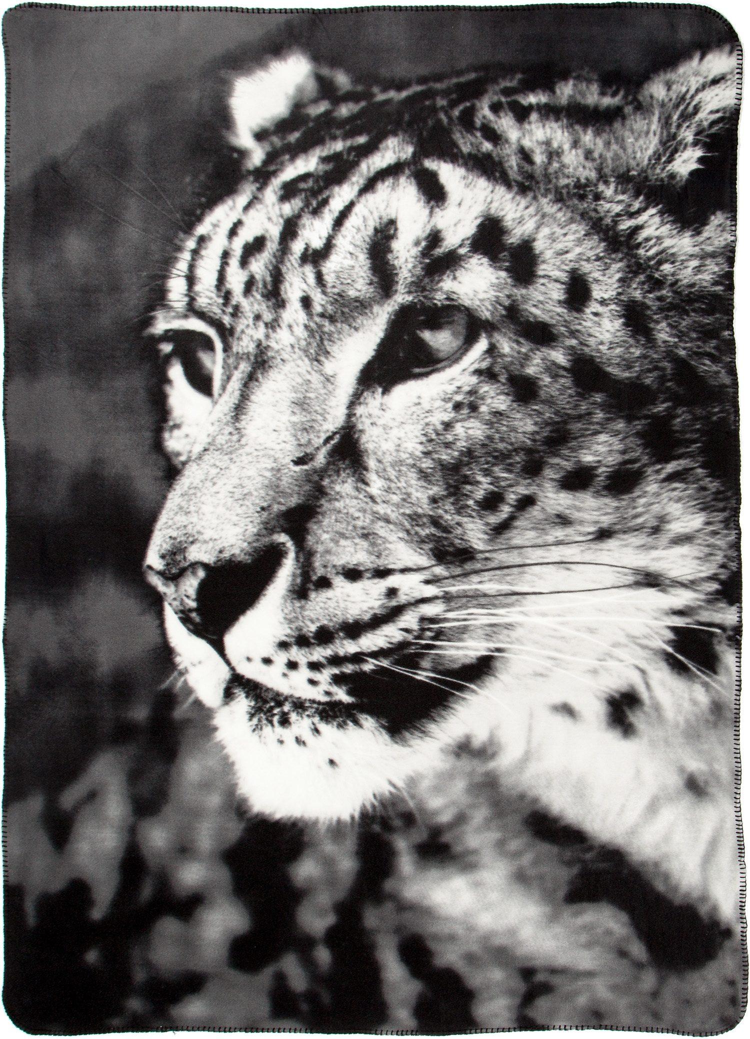Wohndecke, Biederlack, »Leopard«, mit Leopardenmotiv