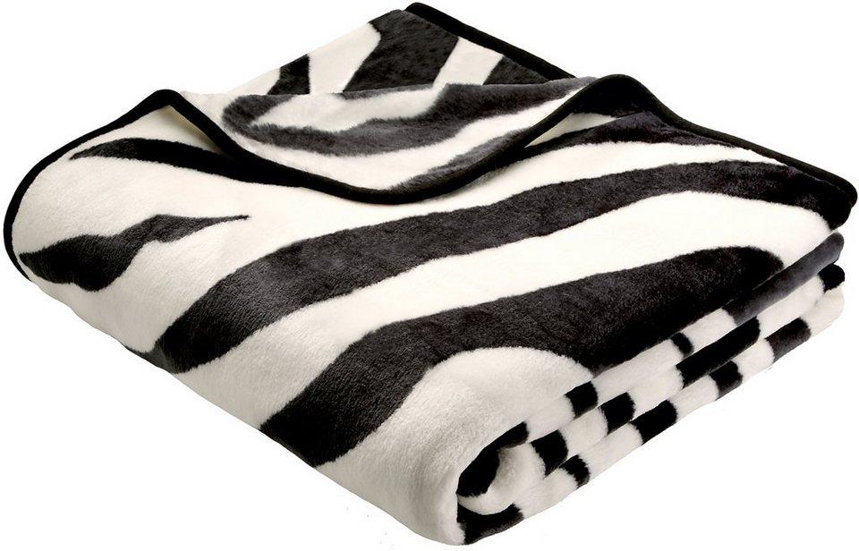 Wohndecke, Biederlack, »Zebra«, Animalprint in schwarz-weiß
