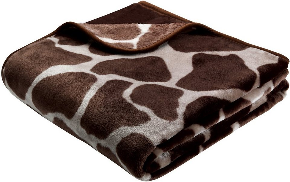 Wohndecke, Biederlack, »Giraffe«, Animalprint in braun