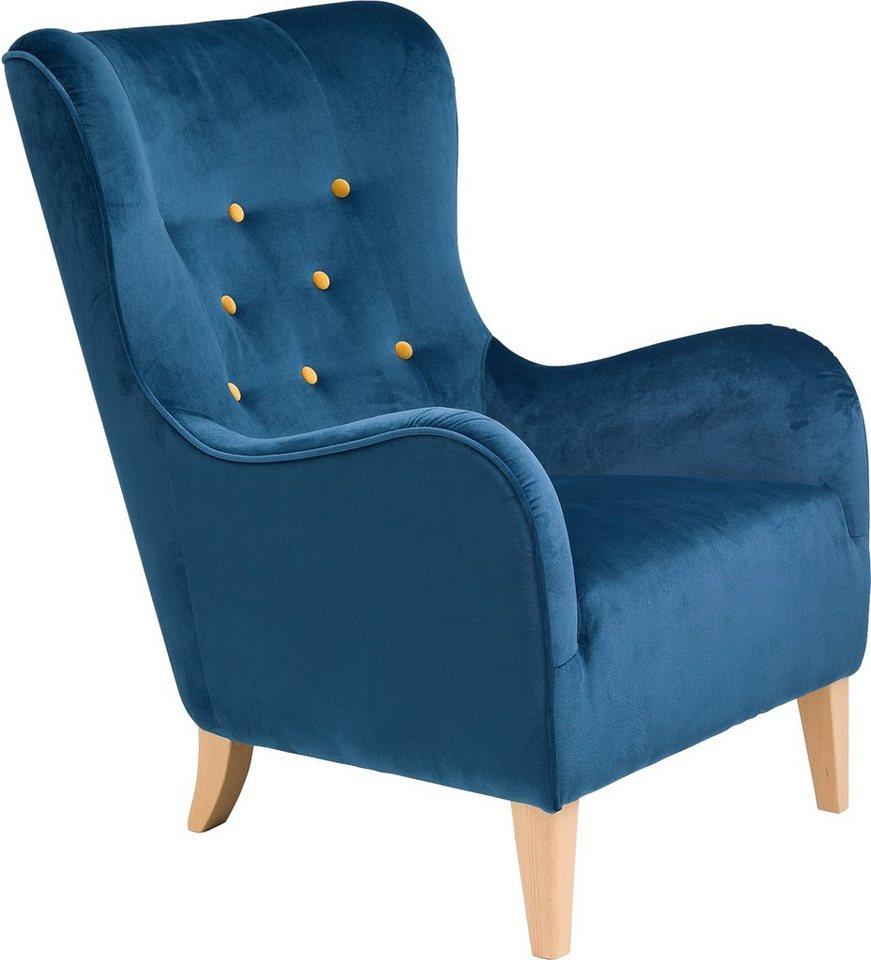 Max Winzer® Sessel mit farbigen Zierknöpfen »Melina«, mit Holzfüßen in petrol