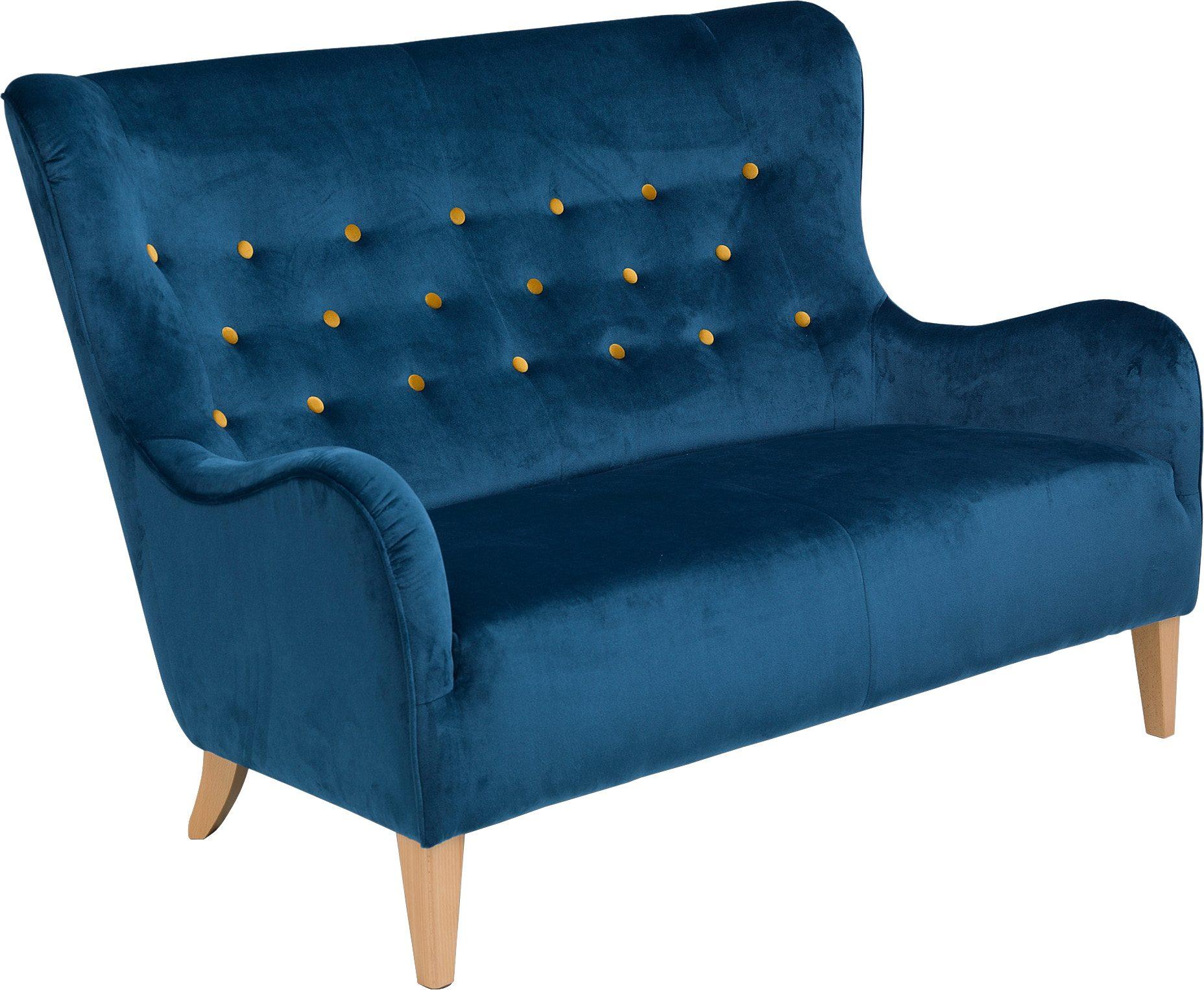 Max Winzer® 2-Sitzer Sofa »Melina« im Retrolook, mit farbigen Zierknöpfen, Breite 149 cm
