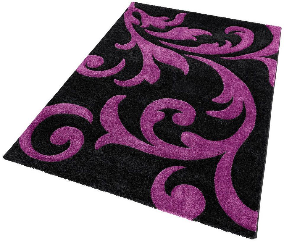 Teppich, Lalee, »Lambada 451«, handgearbeiteter Konturenschnitt, gewebt in Schwarz / Violett