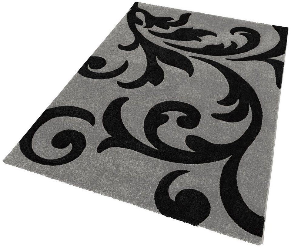 Teppich, Lalee, »Lambada 451«, handgearbeiteter Konturenschnitt, gewebt in Silber / Schwarz
