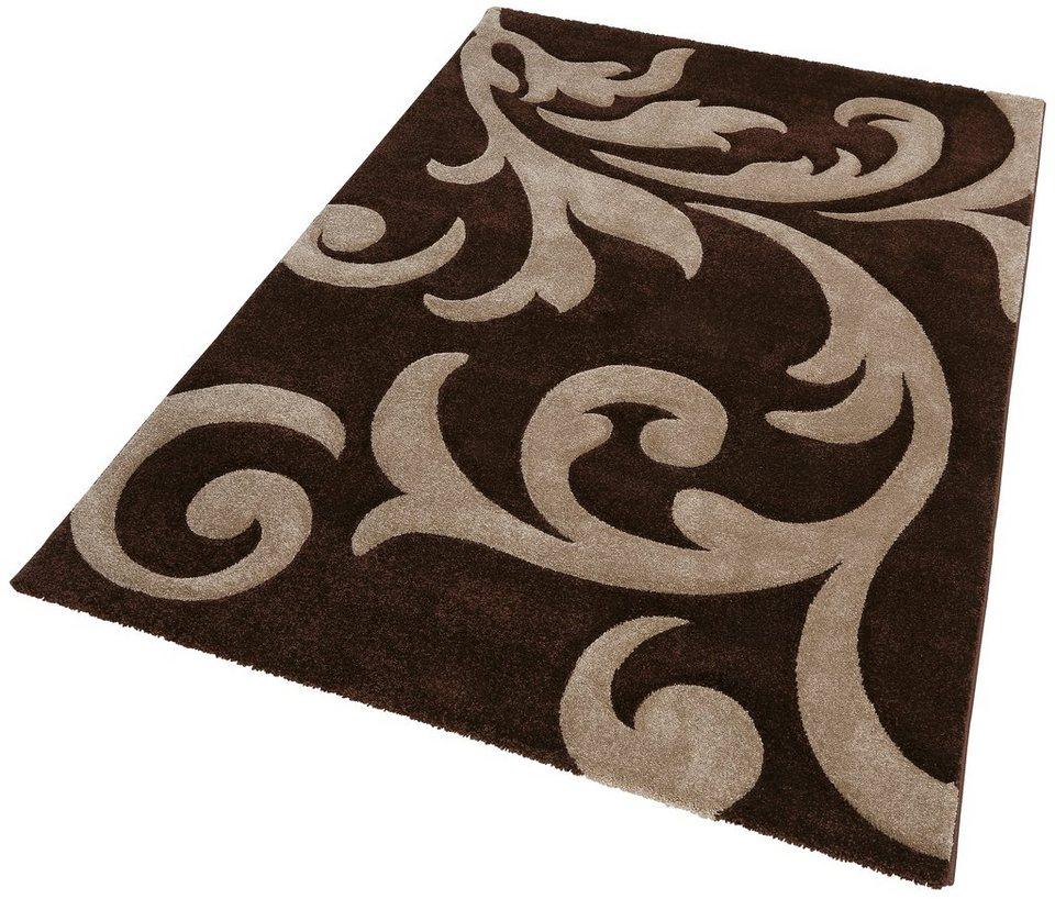 Teppich, Lalee, »Lambada 451«, handgearbeiteter Konturenschnitt, gewebt in mocca beige