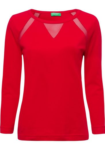 United Colors of Benetton 3/4-Arm-Shirt mit transparenten Einsätzen