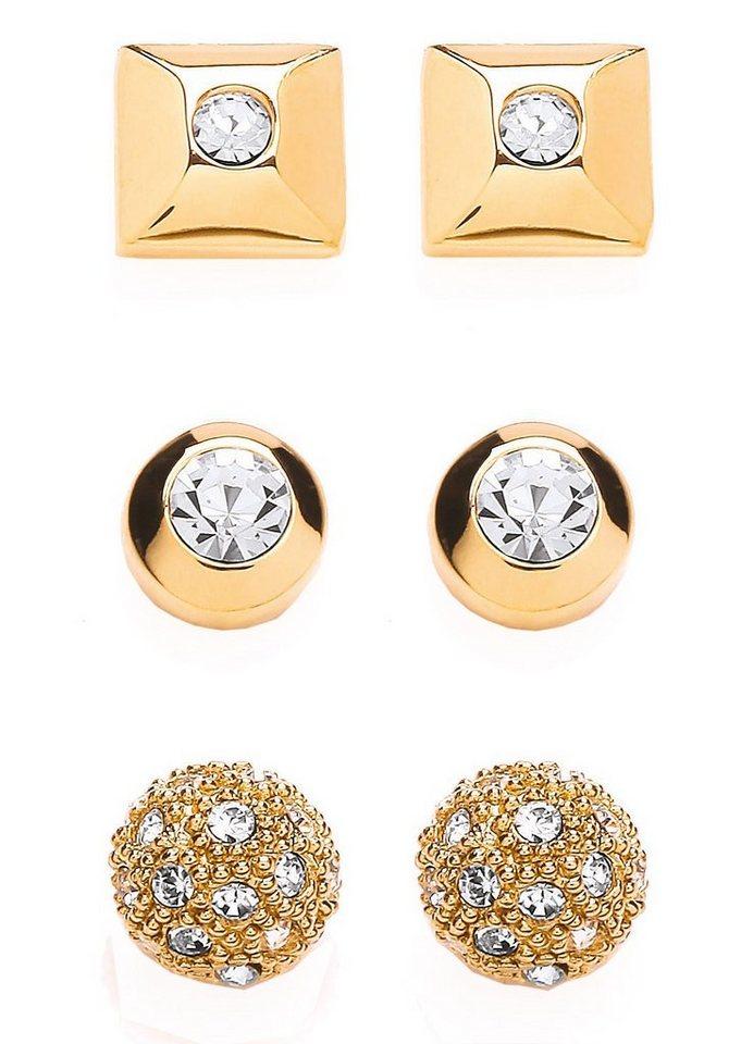 Buckley London Schmuckset: Ohrstecker mit Kristallen »Glitter & Gold Collection« (Set 6tlg.) in goldfarben