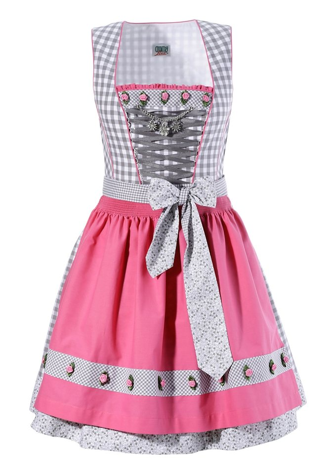 Dirndl, Country Line in silber/himbeeer