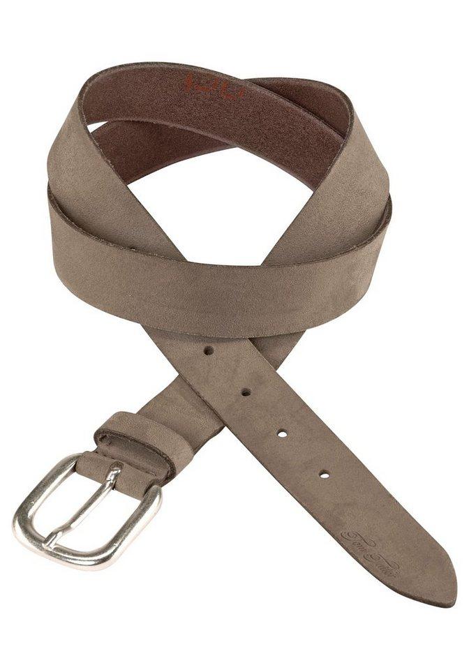 Tom Tailor Ledergürtel Oberfläche samtig-weich in taupe