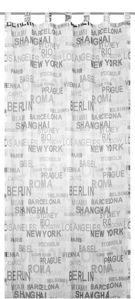 Vorhang, Elbersdrucke, »City«, mit Schlaufen, Transparent (1 Stück) in schwarz-weiß