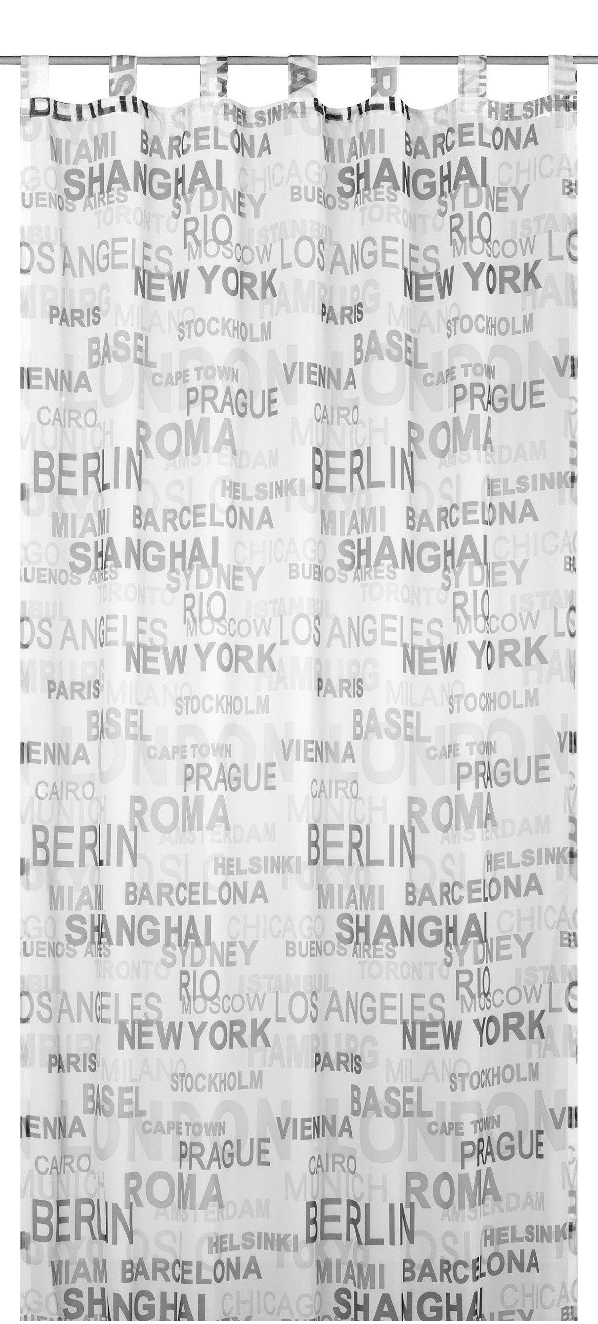 Vorhang, Elbersdrucke, »City«, mit Schlaufen, Transparent (1 Stück)