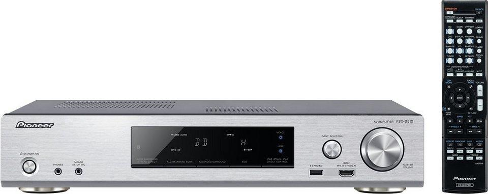 Pioneer VSX-S510 AV-Receiver (3D, Spotify, Airplay, Bluetooth) in silberfarben