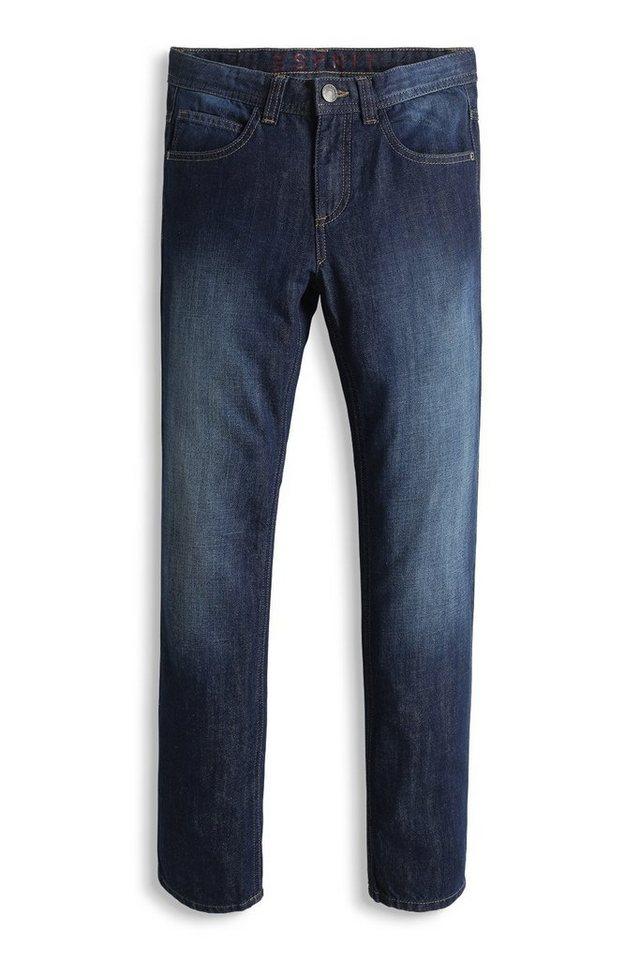 ESPRIT Non-Stretch Jeans mit dunkler Waschung in SUPERDARK DENIM