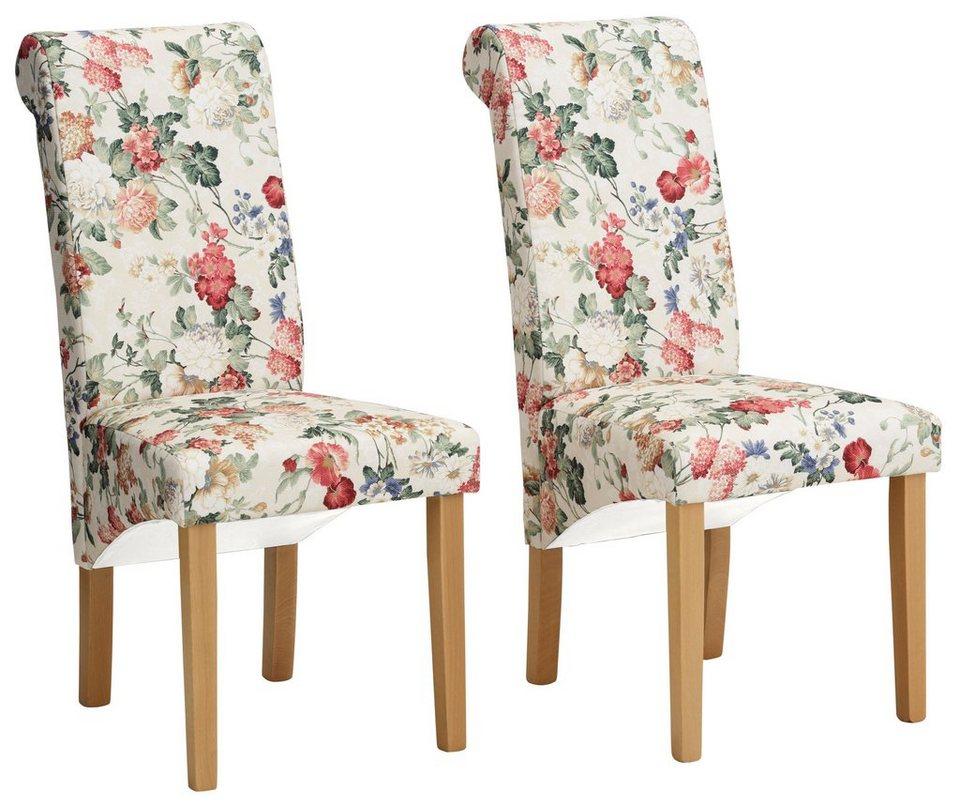 Stuhl, Home affaire, »Pablo«, mit Blumenmuster (2, 4 oder 6 Stck.) in Blume/natur