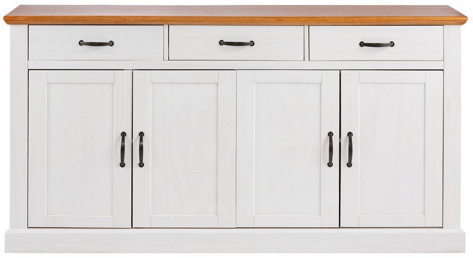 Sideboard, Home affaire, Breite 158 cm in weiß/honigfarben