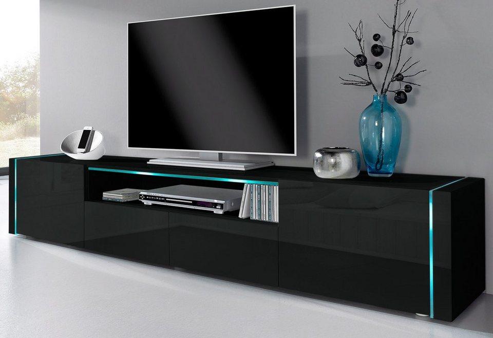 Lowboard, Breite 206 cm in schwarz Hochglanz