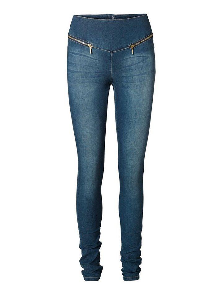 Vero Moda Long Zip Leggings in DENIM