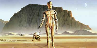 Komar Fototapete »Star Wars Classic RMQ Droids«, glatt, futuristisch, mehrfarbig, Weltall, (Packung)
