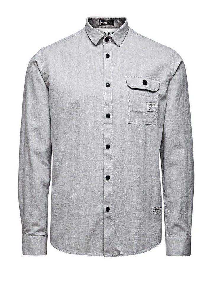 Jack & Jones Herringbone Langarmhemd in Neutral Gray