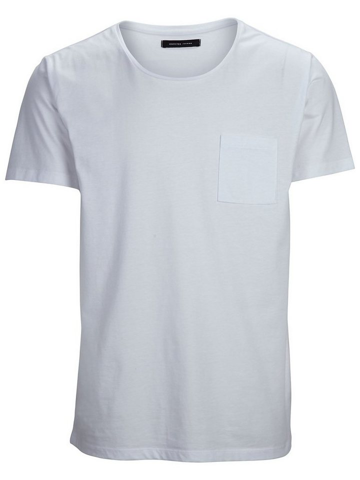 Selected Pima dave ss deep o-neck NOOS H in Bright White