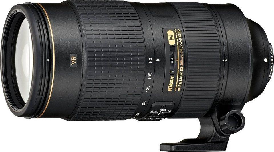 Nikon AF-S NIKKOR 80-400 mm 1:4,5-5,6G ED VR Telezoom Objektiv in schwarz