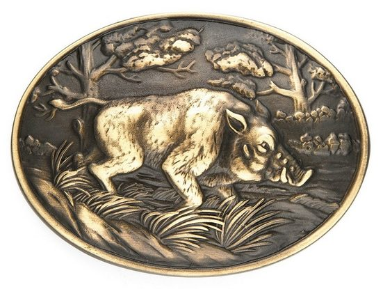 Goodman Design Gürtelschnalle »Wildschwein für Jagd und Jäger« Hergestellt in Italien