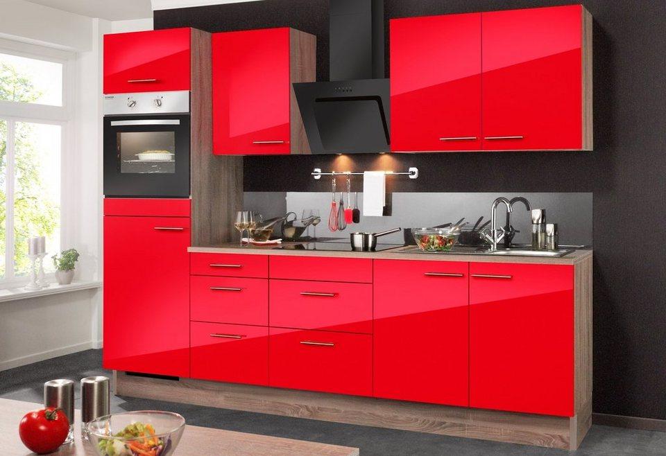 Optifit Küchenzeile mit E-Geräten »Knud«, Breite 270 cm in eichefarben trüffel/granat rot