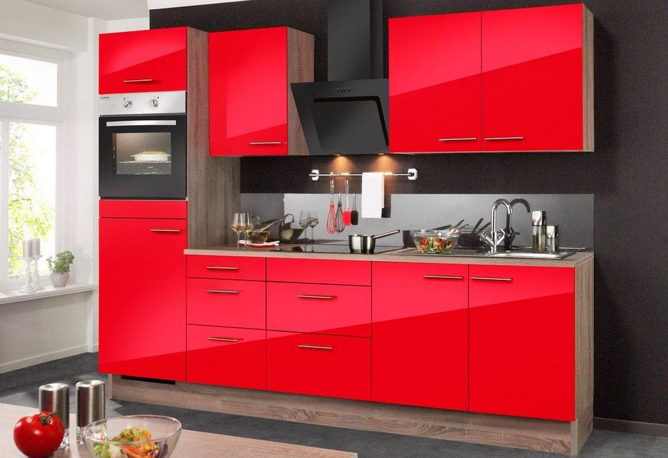 Küchenzeile ohne E-Geräte »Knud«, Breite 270 cm in eichefarben trüffel/granat rot