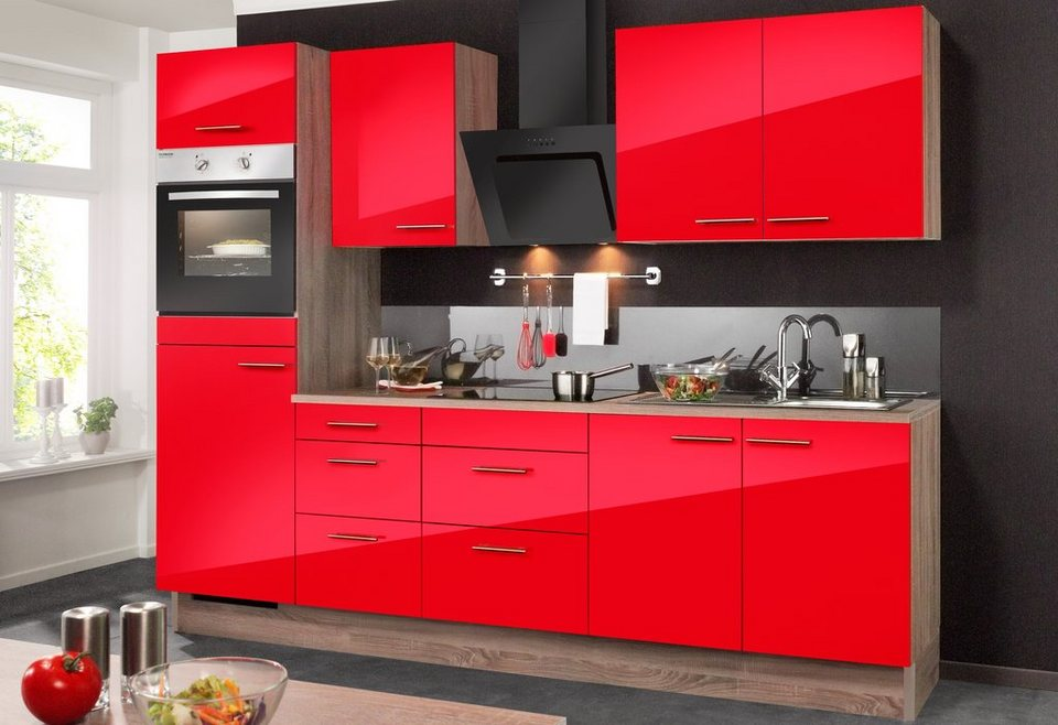 Optifit Küchenzeile ohne E-Geräte »Knud«, Breite 270 cm in eichefarben trüffel/granat rot