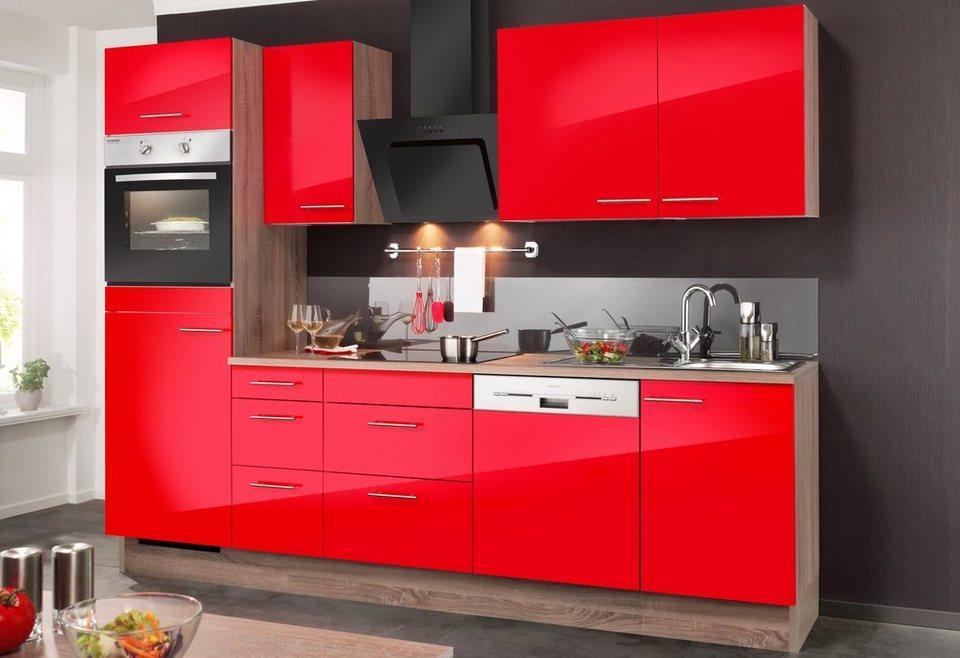 Küchenzeile mit E-Geräten »Knud«, Breite 270 cm in rot
