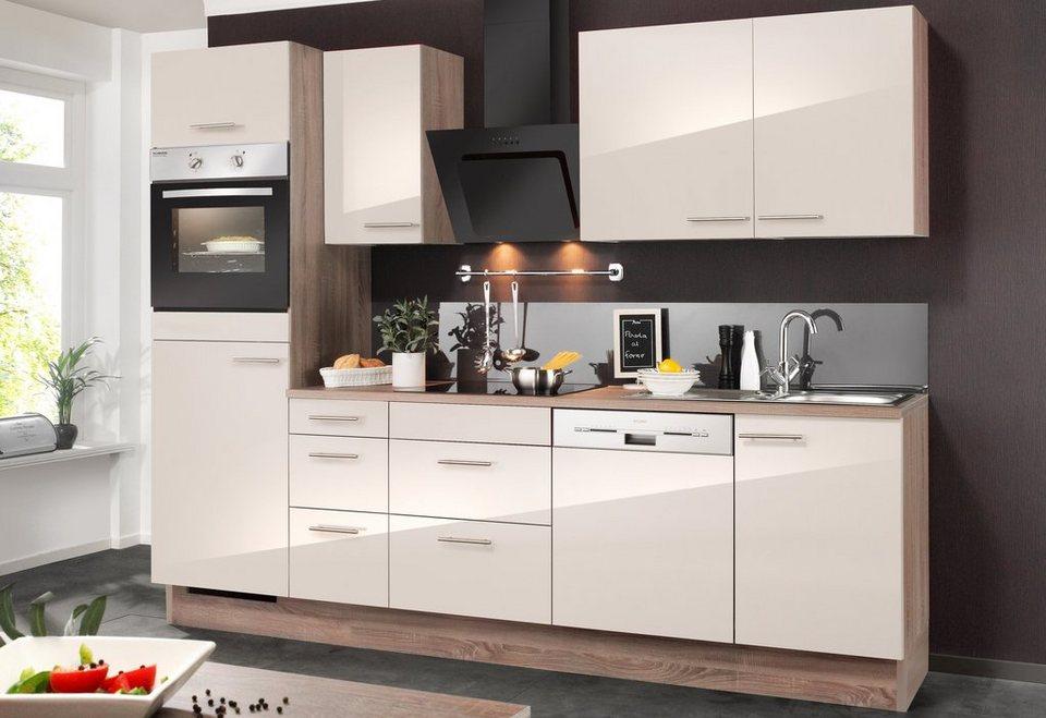 Küchenzeile mit E-Geräten »Mika«, Breite 270 cm in eichefarben trüffel/sahara beige