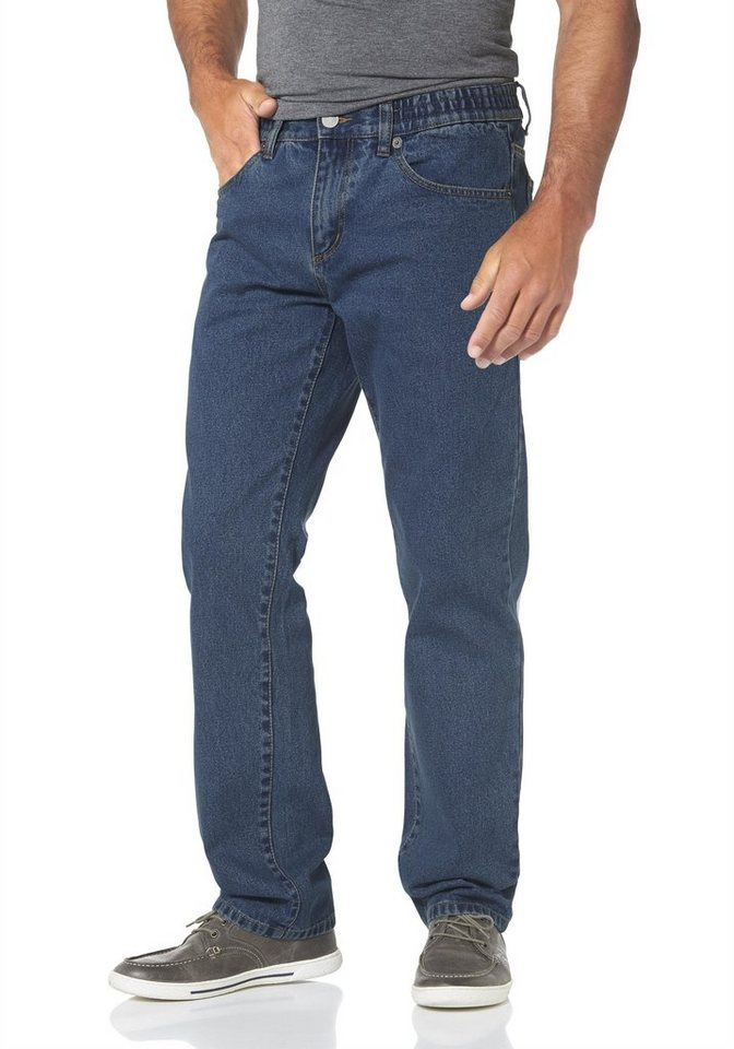 Man's World 5-Pocket-Jeans mit seitlichem Dehnbund in blue-stone