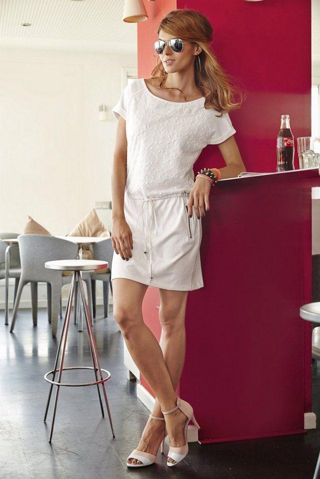 Aniston Sweatkleid mit Kordelzug auf Hüfthöhe in wollweiß