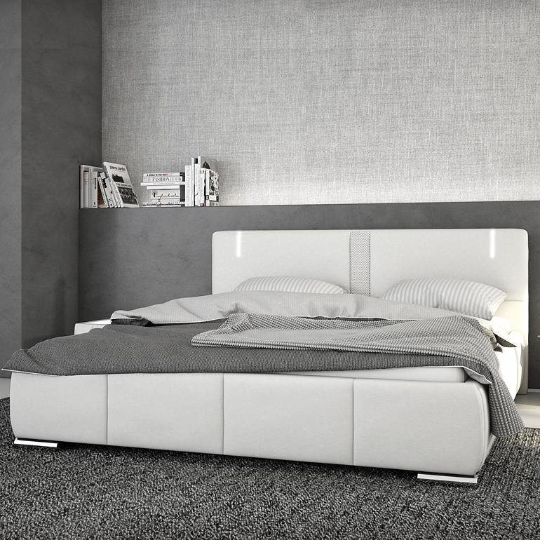 innocent polsterbett aus kunstleder wei 180x200cm mit led. Black Bedroom Furniture Sets. Home Design Ideas