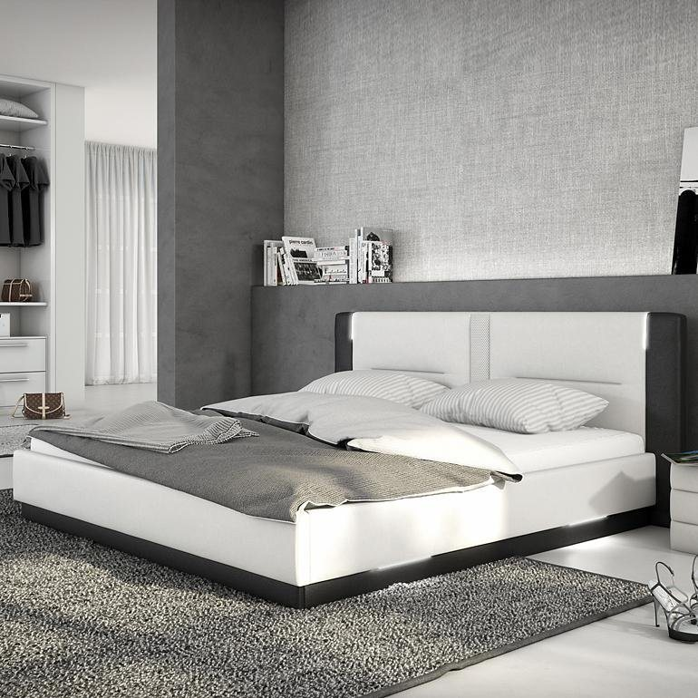 Innocent Polsterbett aus Kunstleder weiß schwarz 180x200cm mit LED und La »Salero«