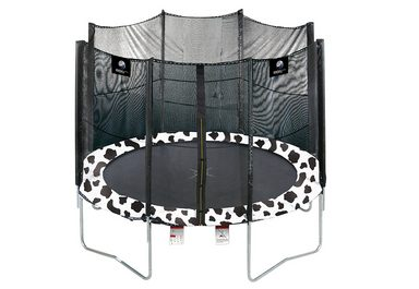 trampolin 305 cm mit sicherheitsnetz im kuhdesign. Black Bedroom Furniture Sets. Home Design Ideas