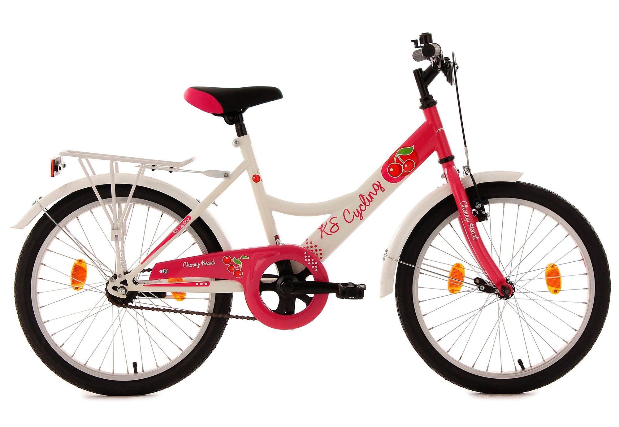 Mädchen-Jugendfahrrad, 20 Zoll, weiß-pink, ohne Schaltung, »Cherry Heart«, KS Cycling